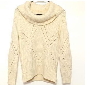 Cream wool blend cowl neck sweater Small